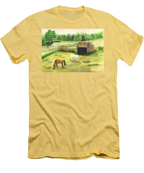 Bucks County Horse Farm Men's T-Shirt (Slim Fit) by Lucia Grilletto