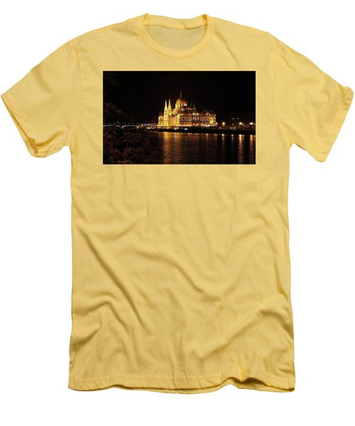 Men's T-Shirt (Slim Fit) featuring the digital art Budapest - Parliament by Pat Speirs