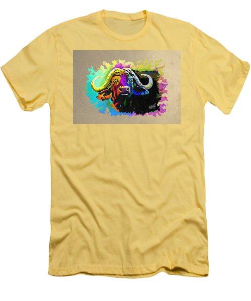 Men's T-Shirt (Slim Fit) featuring the painting Buffalo Boss by Anthony Mwangi