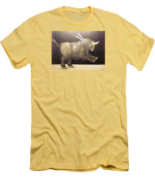 bull painting Botero Men's T-Shirt (Slim Fit) by Ted Pollard
