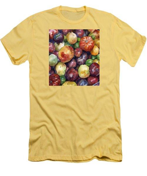 Men's T-Shirt (Slim Fit) featuring the painting Bumper Crop Of Heirlooms by Anne Gifford