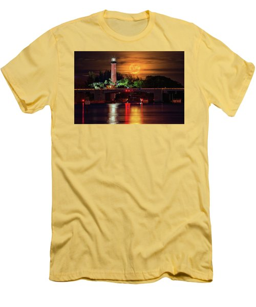 Burning Moon Rising Over Jupiter Lighthouse Men's T-Shirt (Slim Fit) by Justin Kelefas