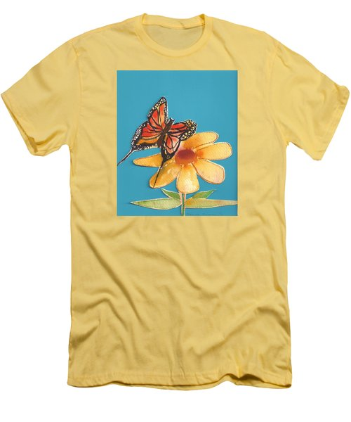 Men's T-Shirt (Slim Fit) featuring the painting Butterflower by Denise Fulmer