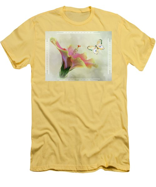 Butterfly And Fiesta Hibiscus Men's T-Shirt (Athletic Fit)