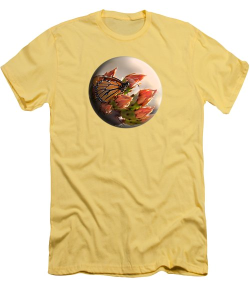 Men's T-Shirt (Slim Fit) featuring the photograph Butterfly In A Globe by Phyllis Denton