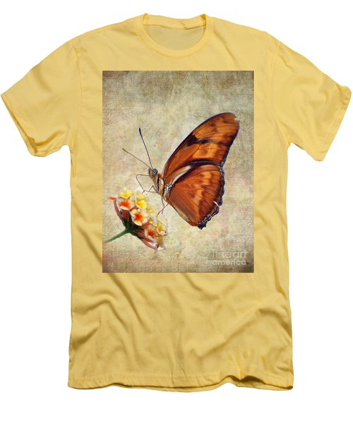 Men's T-Shirt (Slim Fit) featuring the pyrography Butterfly by Savannah Gibbs