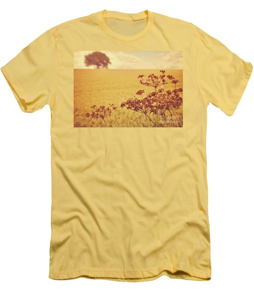 Men's T-Shirt (Slim Fit) featuring the photograph By The Side Of The Wheat Field by Lyn Randle