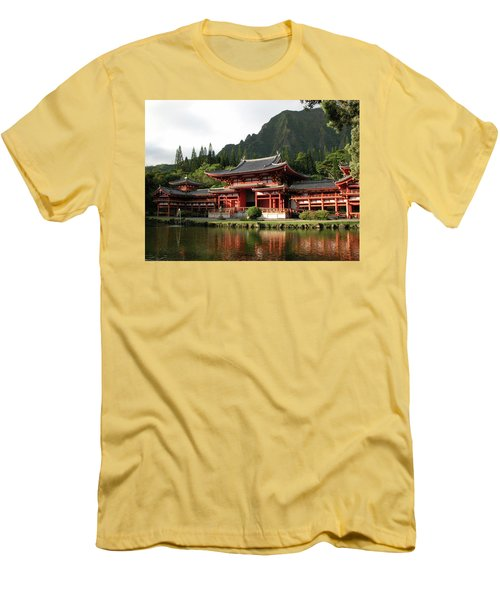 Men's T-Shirt (Slim Fit) featuring the photograph Byodo-in Temple, Oahu, Hawaii by Mark Czerniec