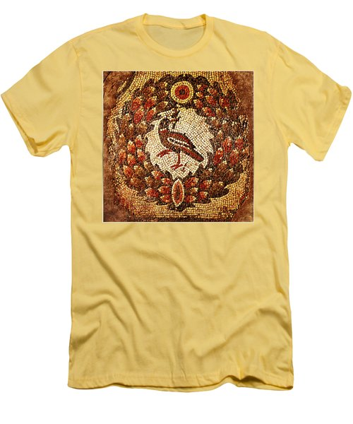 Men's T-Shirt (Slim Fit) featuring the digital art Byzantine Bird by Asok Mukhopadhyay