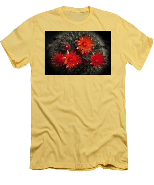 Men's T-Shirt (Slim Fit) featuring the photograph Cactus Red Flowers by Catherine Lau