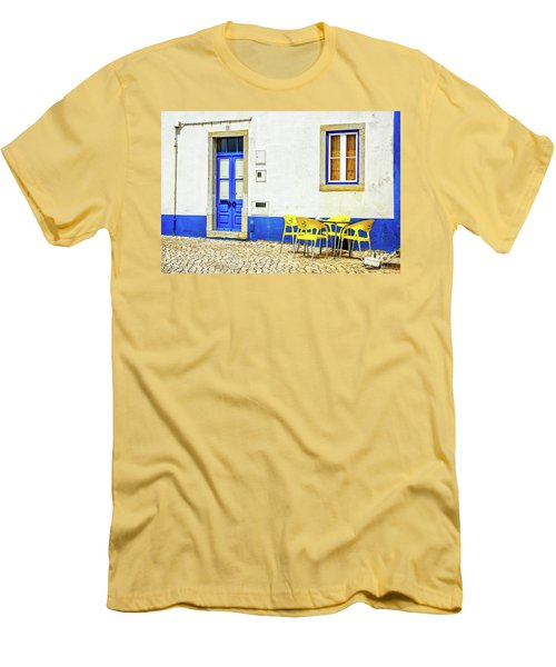 Men's T-Shirt (Slim Fit) featuring the photograph Cafe In Portugal by Marion McCristall