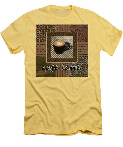 Men's T-Shirt (Athletic Fit) featuring the photograph Cafe Latte - Coffee Art - Caramel by Anastasiya Malakhova