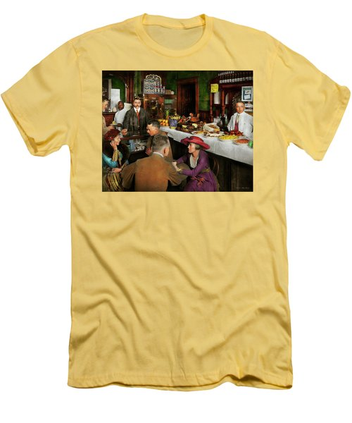 Men's T-Shirt (Slim Fit) featuring the photograph Cafe - Temptations 1915 by Mike Savad