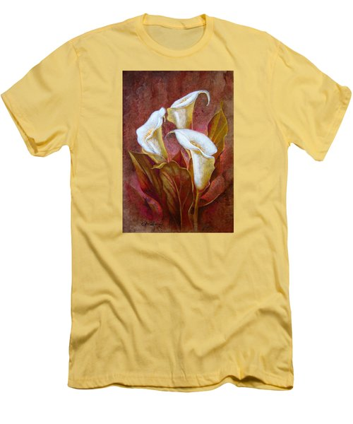 Cala Lillies Bouquet Men's T-Shirt (Slim Fit) by J- J- Espinoza