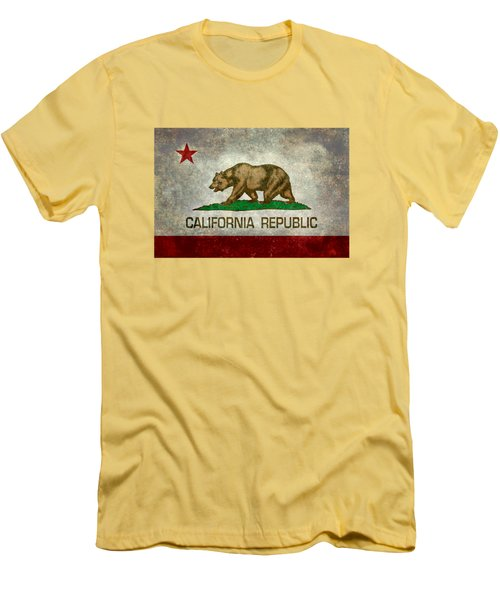California Republic State Flag Retro Style Men's T-Shirt (Slim Fit)