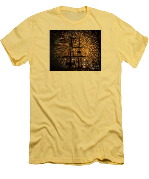 Men's T-Shirt (Slim Fit) featuring the photograph Canal Day Fireworks Finale by JT Lewis