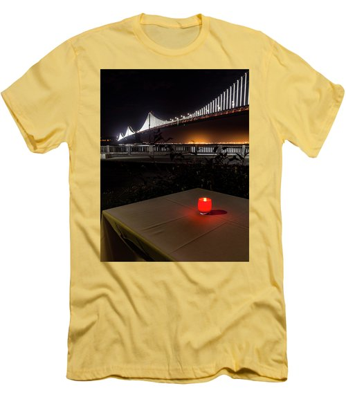 Men's T-Shirt (Slim Fit) featuring the photograph Candle Lit Table Under The Bridge by Darcy Michaelchuk