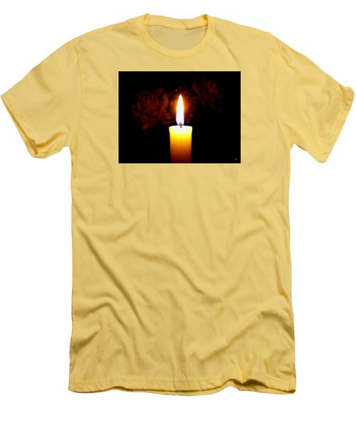 Men's T-Shirt (Athletic Fit) featuring the photograph Candlelight And Roses by Will Borden