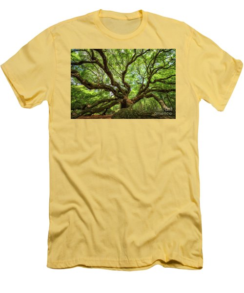 Canopy Of Color At Angel Oak Tree  Men's T-Shirt (Slim Fit) by Michael Ver Sprill