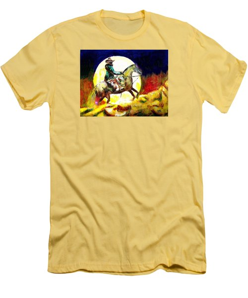 Men's T-Shirt (Slim Fit) featuring the painting Canyon Moon by Seth Weaver