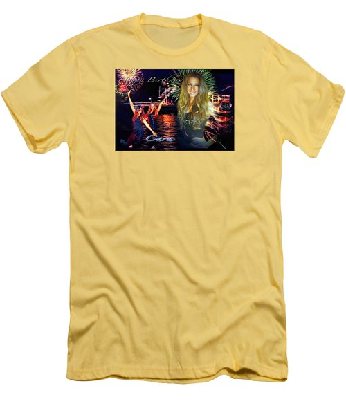 Cara Earth Angels Birthday Men's T-Shirt (Slim Fit) by Glenn Feron