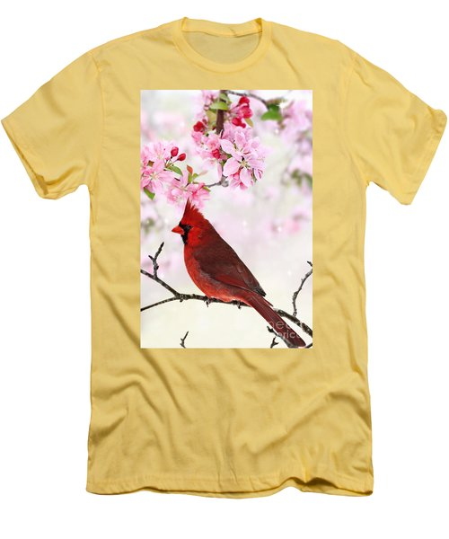 Cardinal Amid Spring Tree Blossoms Men's T-Shirt (Slim Fit) by Stephanie Frey