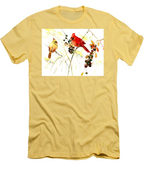 Cardinal Birds And Berries Men's T-Shirt (Athletic Fit)
