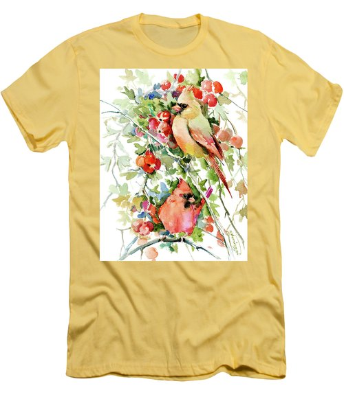 Cardinal Birds And Hawthorn Men's T-Shirt (Athletic Fit)