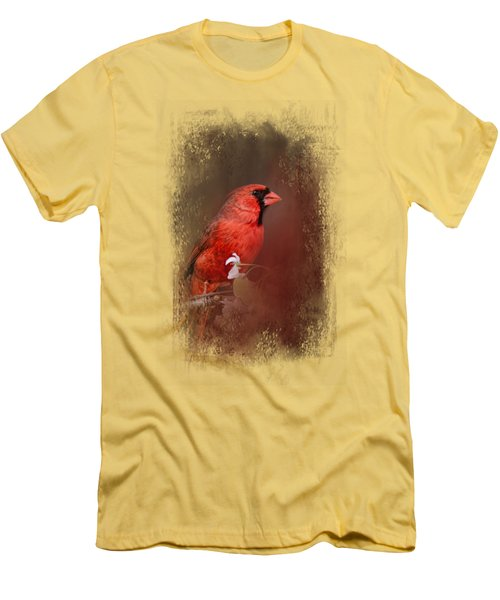 Cardinal In Antique Red Men's T-Shirt (Slim Fit) by Jai Johnson