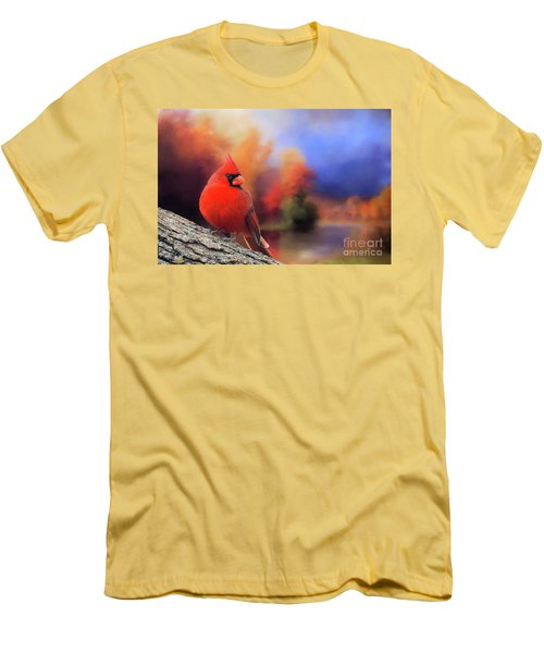 Cardinal In Autumn Men's T-Shirt (Slim Fit) by Janette Boyd