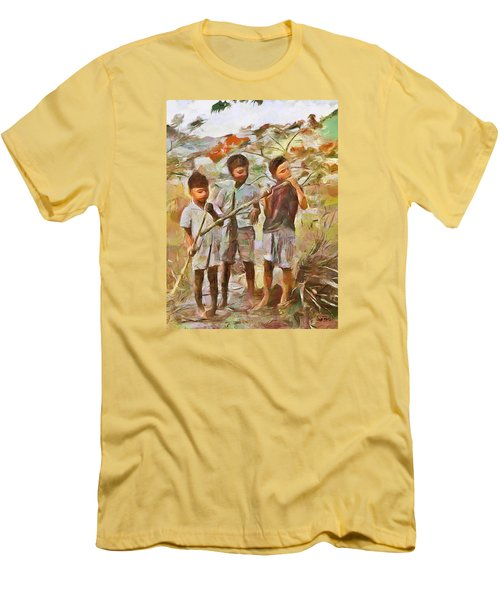 Men's T-Shirt (Slim Fit) featuring the painting Caribbean Scenes - Eating Sugarcane by Wayne Pascall