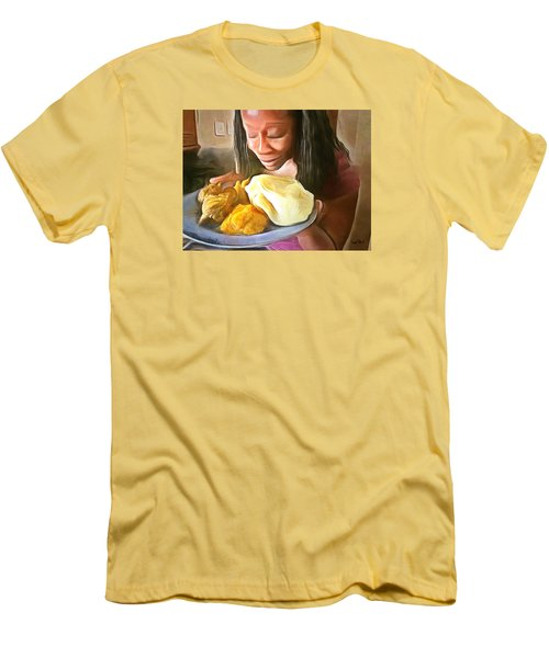 Men's T-Shirt (Slim Fit) featuring the painting Caribbean Scenes - Roti, Pumpkin And Curry Chicken by Wayne Pascall