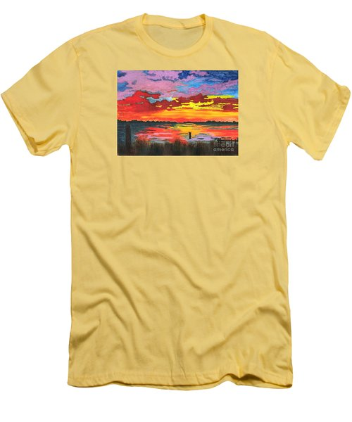 Men's T-Shirt (Slim Fit) featuring the painting Carolina Sunset by Patricia Griffin Brett