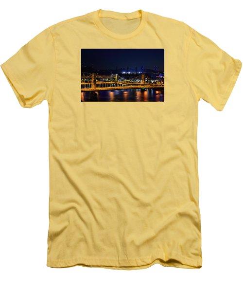 Carson Bridge At Night Men's T-Shirt (Slim Fit) by William Bartholomew