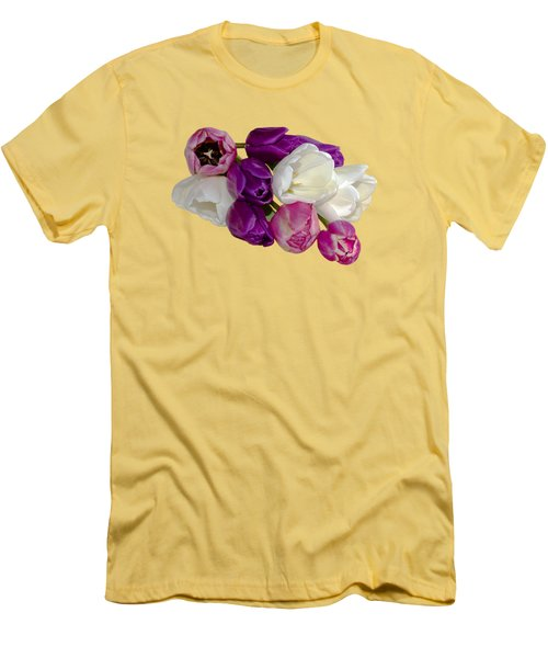 Men's T-Shirt (Slim Fit) featuring the photograph Cascading Tulips by Phyllis Denton