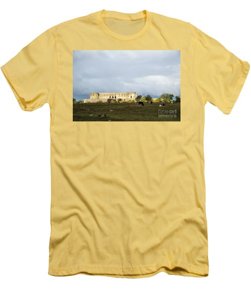 Men's T-Shirt (Athletic Fit) featuring the photograph Castle Ruin In Spotlight by Kennerth and Birgitta Kullman