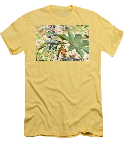 Men's T-Shirt (Slim Fit) featuring the photograph Castor Oil Plant by Ray Shrewsberry