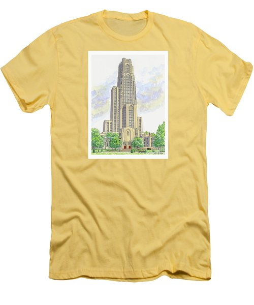 Men's T-Shirt (Slim Fit) featuring the painting Cathedral Of Learning by Val Miller