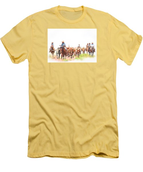 Cattle Drive Men's T-Shirt (Slim Fit) by David and Carol Kelly