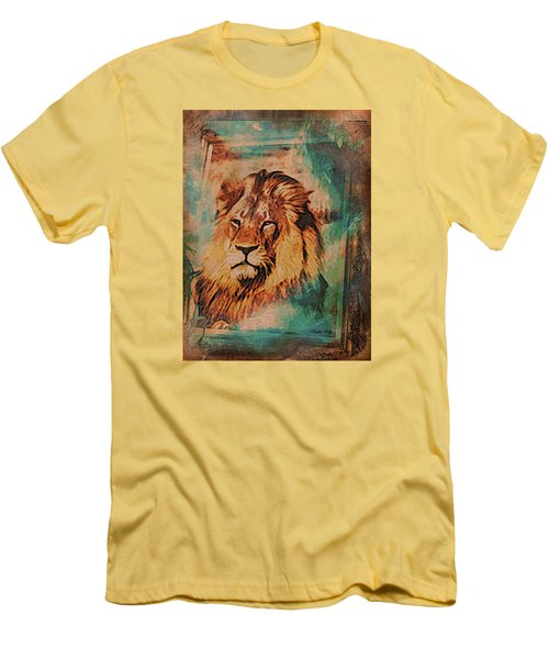 Men's T-Shirt (Slim Fit) featuring the digital art Cecil The Lion by Kathy Kelly