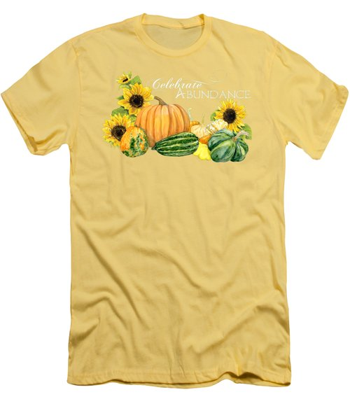 Celebrate Abundance - Harvest Fall Pumpkins Squash N Sunflowers Men's T-Shirt (Slim Fit) by Audrey Jeanne Roberts