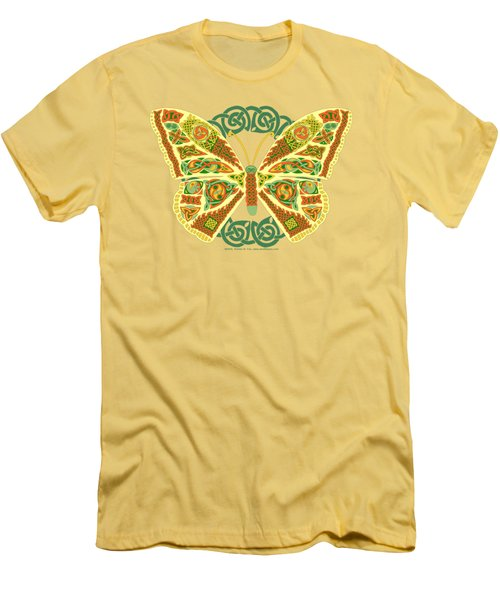Men's T-Shirt (Slim Fit) featuring the mixed media Celtic Butterfly by Kristen Fox
