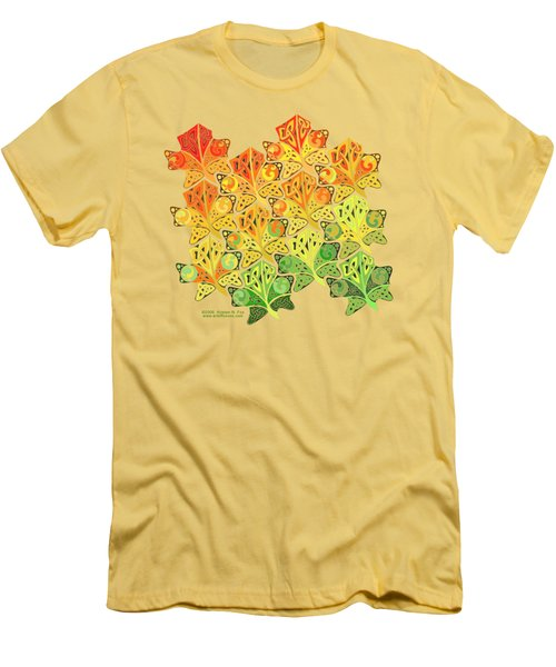 Men's T-Shirt (Slim Fit) featuring the mixed media Celtic Leaf Transformation by Kristen Fox