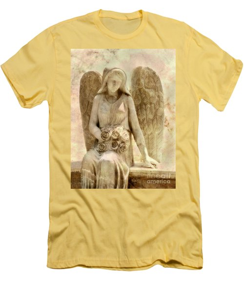 Cemetery Angel Statue Men's T-Shirt (Slim Fit) by Randy Steele