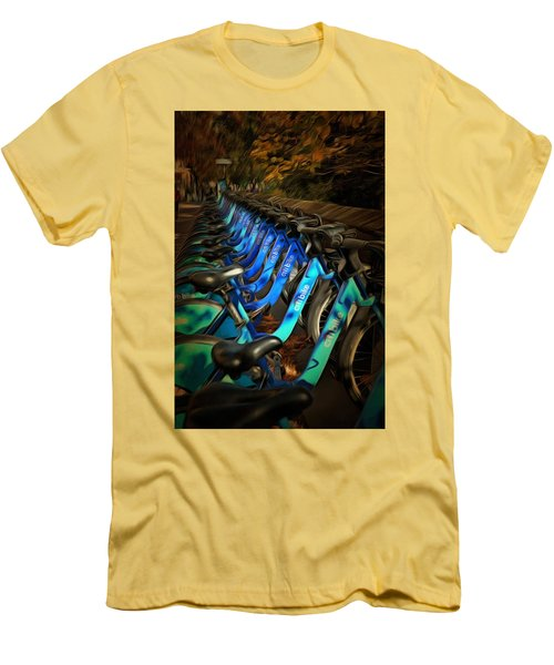 Men's T-Shirt (Slim Fit) featuring the mixed media Central Park Bikes by Trish Tritz