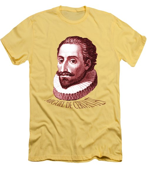 Men's T-Shirt (Slim Fit) featuring the digital art Cervantes by Asok Mukhopadhyay