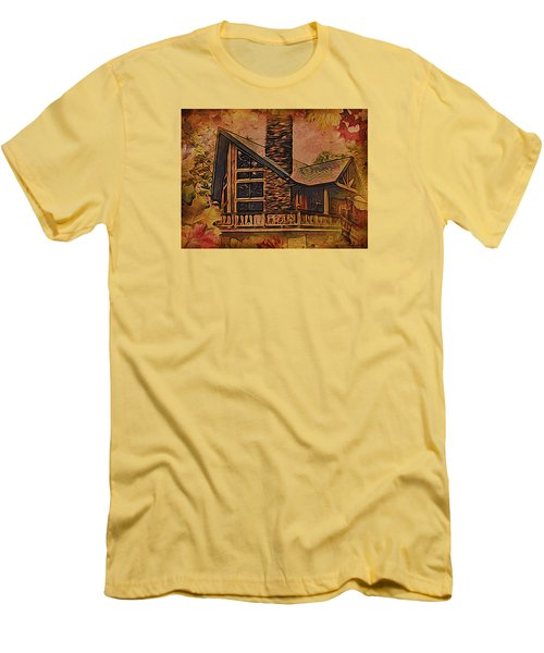 Men's T-Shirt (Slim Fit) featuring the digital art Chalet In Autumn by Kathy Kelly