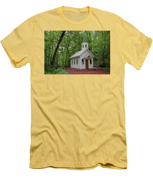 Chapel In The Woods 1 Men's T-Shirt (Slim Fit) by Trey Foerster