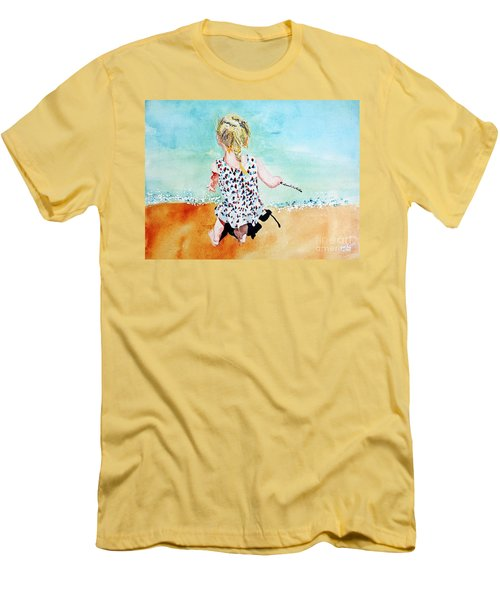 Men's T-Shirt (Slim Fit) featuring the painting Charlotte By The Lake by Tom Riggs