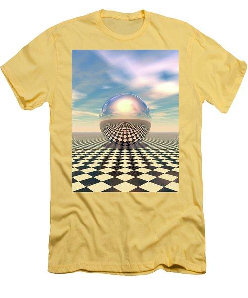 Men's T-Shirt (Slim Fit) featuring the digital art Checker Ball by Phil Perkins